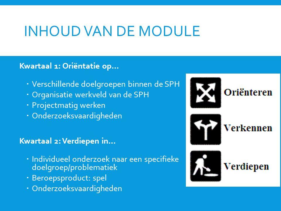 INHOUD VAN DE MODULE Kwartaal 1: Oriëntatie op…  Verschillende doelgroepen binnen de SPH  Organisatie werkveld van de SPH  Projectmatig werken  On