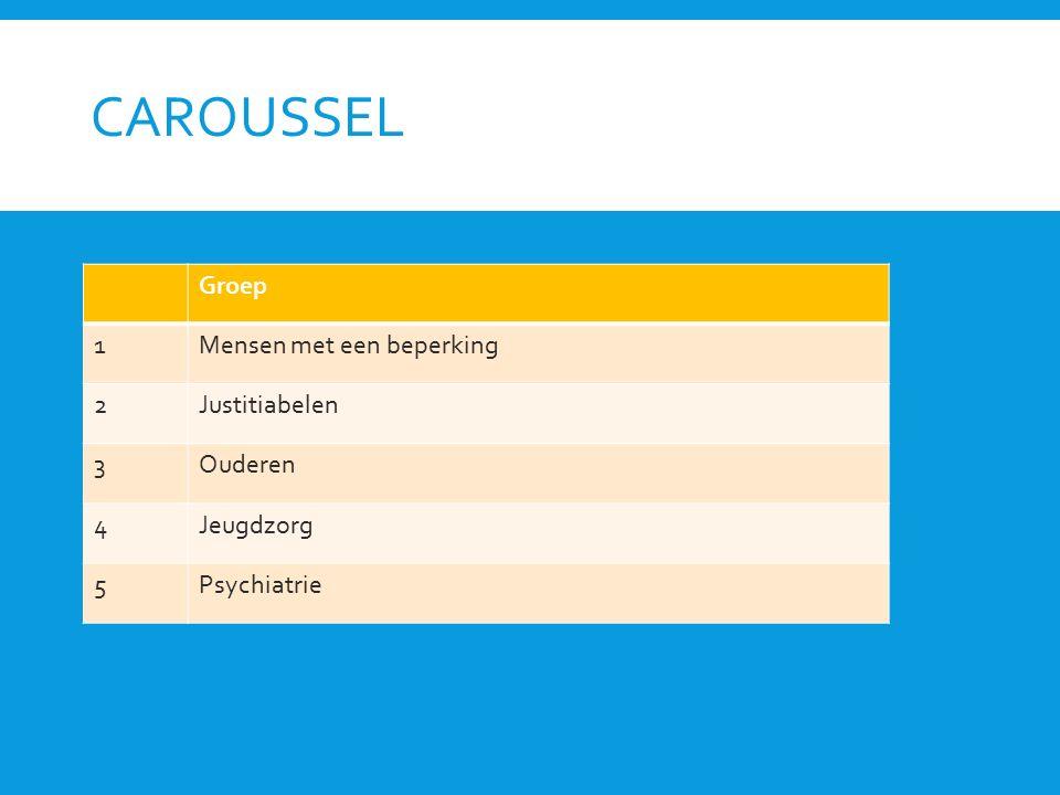 CAROUSSEL Groep 1Mensen met een beperking 2Justitiabelen 3Ouderen 4Jeugdzorg 5Psychiatrie