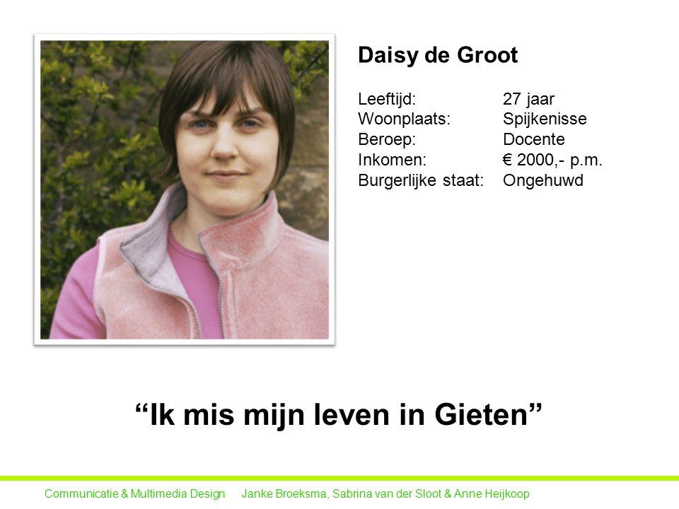 Daisy de Groot Leeftijd: 27 jaar Woonplaats: Spijkenisse Beroep: Docente Inkomen: € 2000,- p.m.
