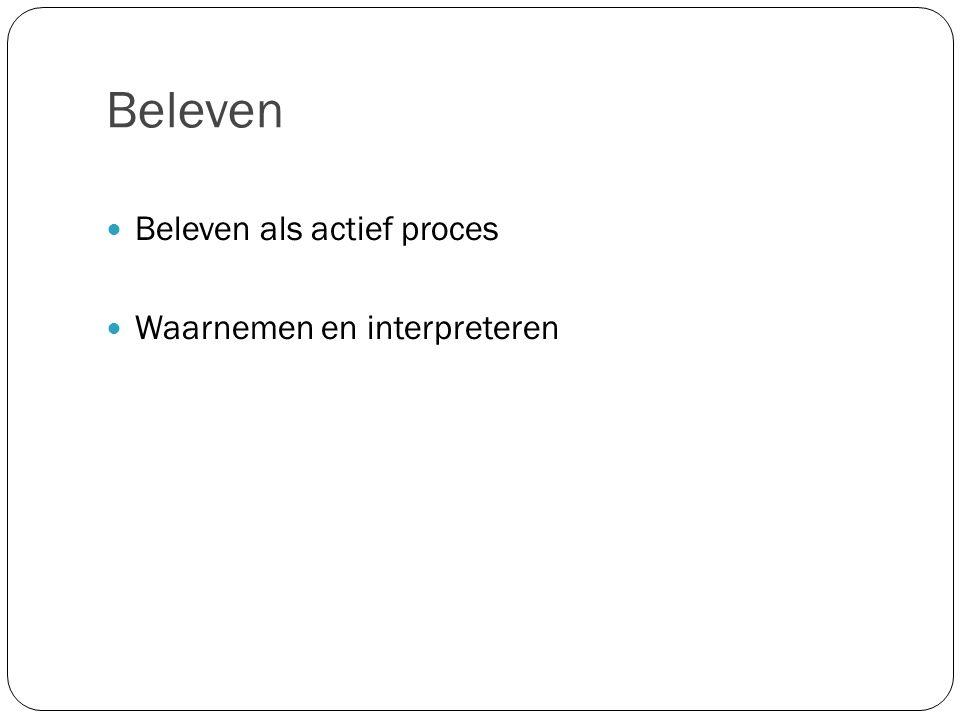 Beleven Beleven als actief proces Waarnemen en interpreteren