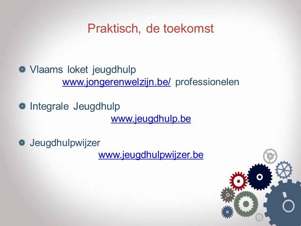 Praktisch, de toekomst Vlaams loket jeugdhulp www.jongerenwelzijn.be/www.jongerenwelzijn.be/ professionelen Integrale Jeugdhulp www.jeugdhulp.be Jeugd