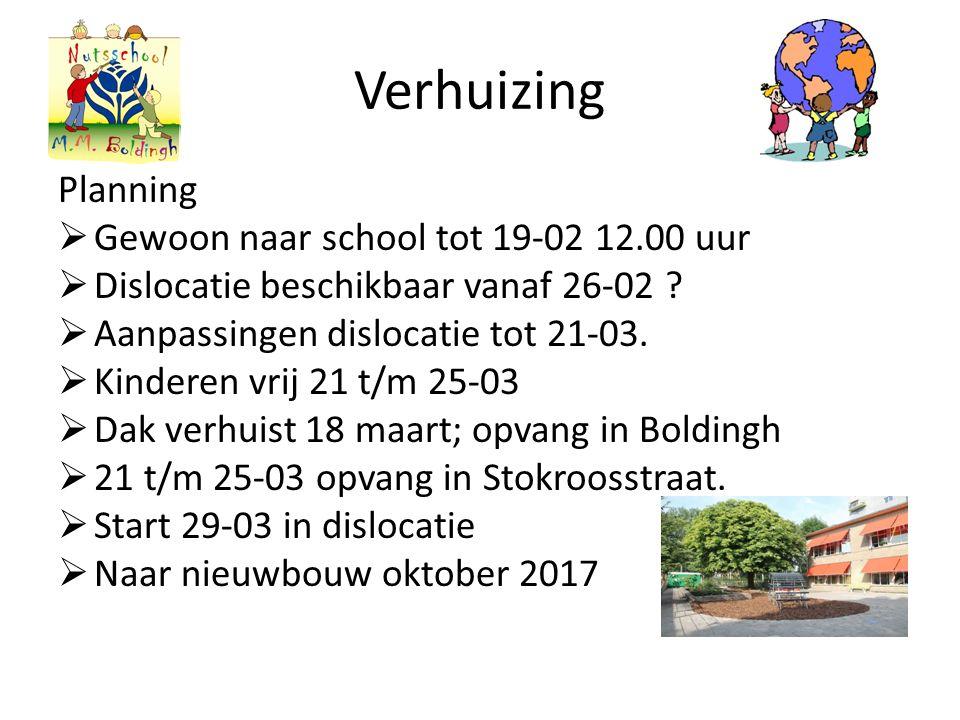 Verhuizing Planning  Gewoon naar school tot 19-02 12.00 uur  Dislocatie beschikbaar vanaf 26-02 .