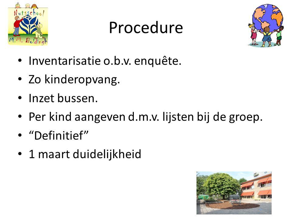 Procedure Inventarisatie o.b.v. enquête. Zo kinderopvang.