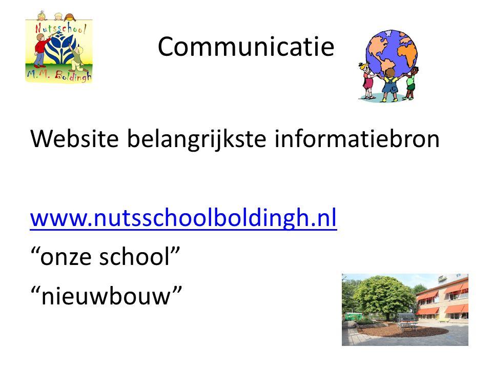 Communicatie Website belangrijkste informatiebron www.nutsschoolboldingh.nl onze school nieuwbouw