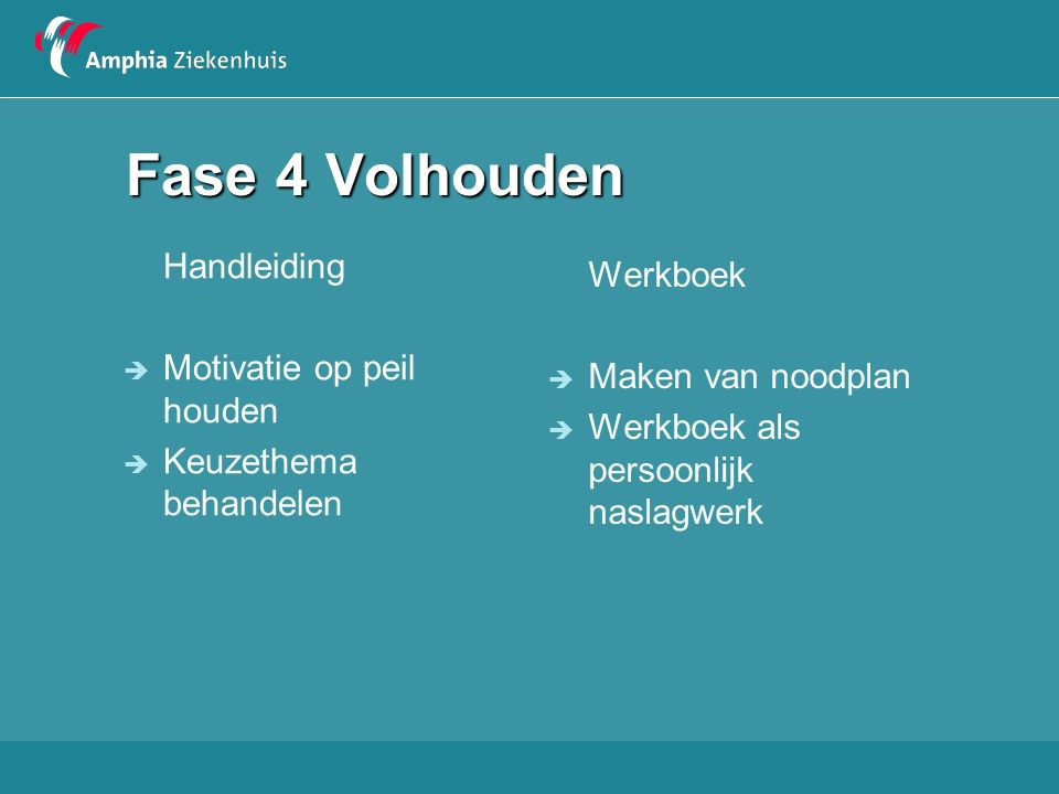 Fase 4 Volhouden Handleiding  Motivatie op peil houden  Keuzethema behandelen Werkboek  Maken van noodplan  Werkboek als persoonlijk naslagwerk