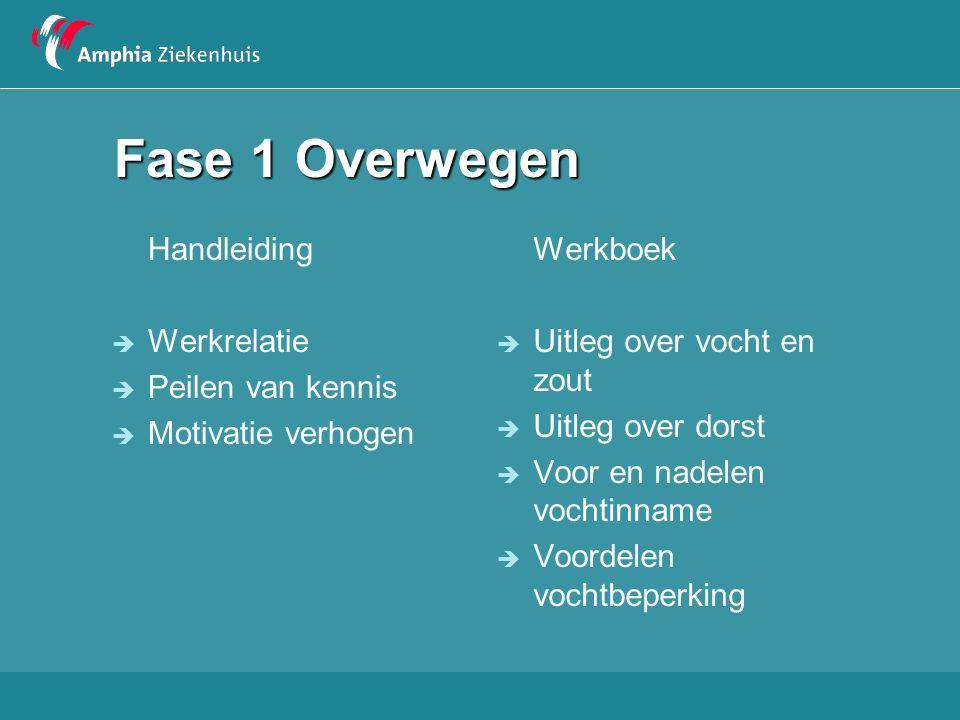 Fase 1 Overwegen Handleiding  Werkrelatie  Peilen van kennis  Motivatie verhogen Werkboek  Uitleg over vocht en zout  Uitleg over dorst  Voor en nadelen vochtinname  Voordelen vochtbeperking