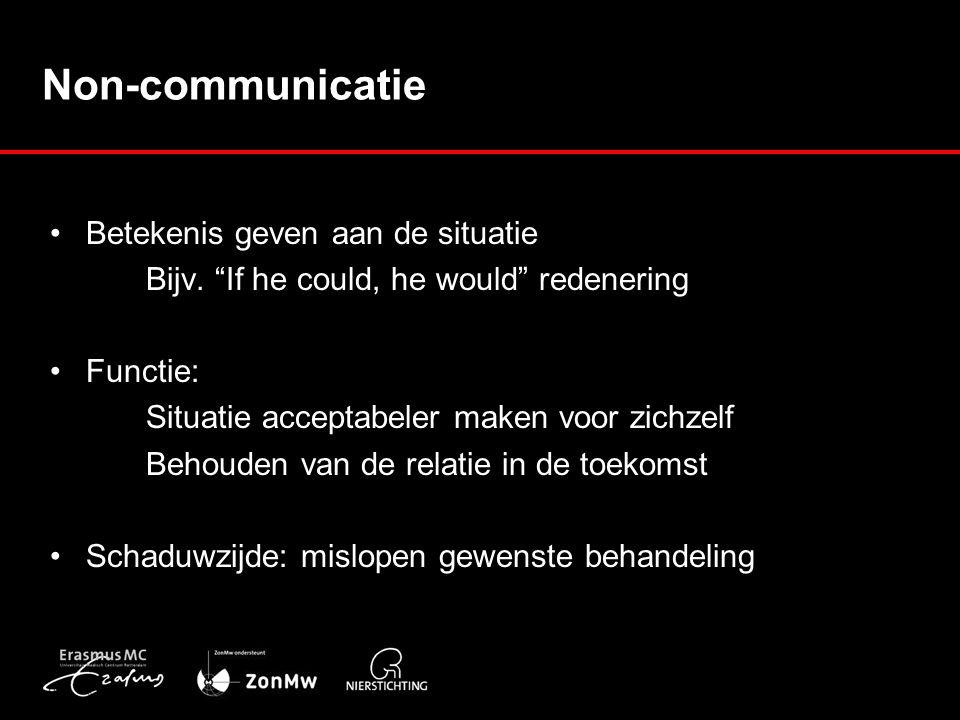 Non-communicatie Betekenis geven aan de situatie Bijv.
