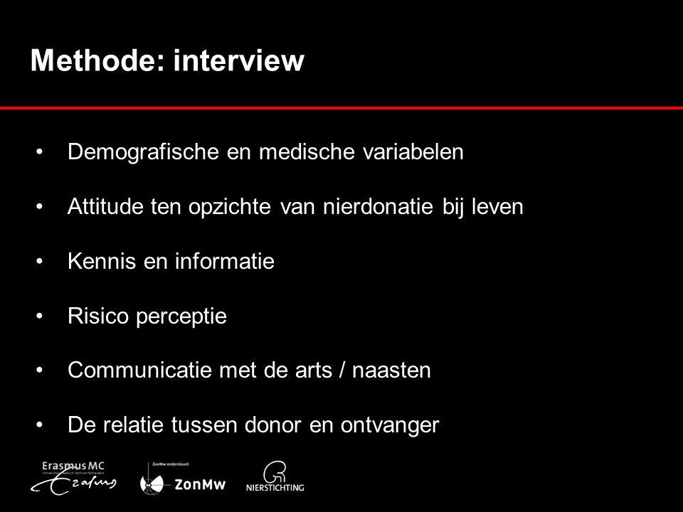 Methode: interview Demografische en medische variabelen Attitude ten opzichte van nierdonatie bij leven Kennis en informatie Risico perceptie Communicatie met de arts / naasten De relatie tussen donor en ontvanger