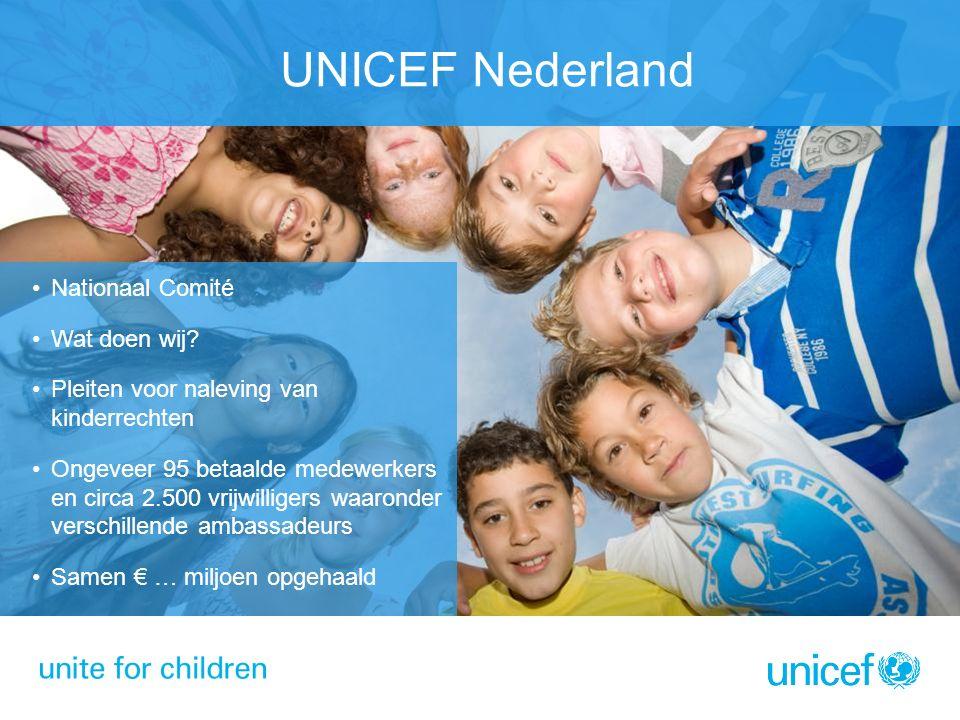 UNICEF Nederland Nationaal Comité Wat doen wij? Pleiten voor naleving van kinderrechten Ongeveer 95 betaalde medewerkers en circa 2.500 vrijwilligers
