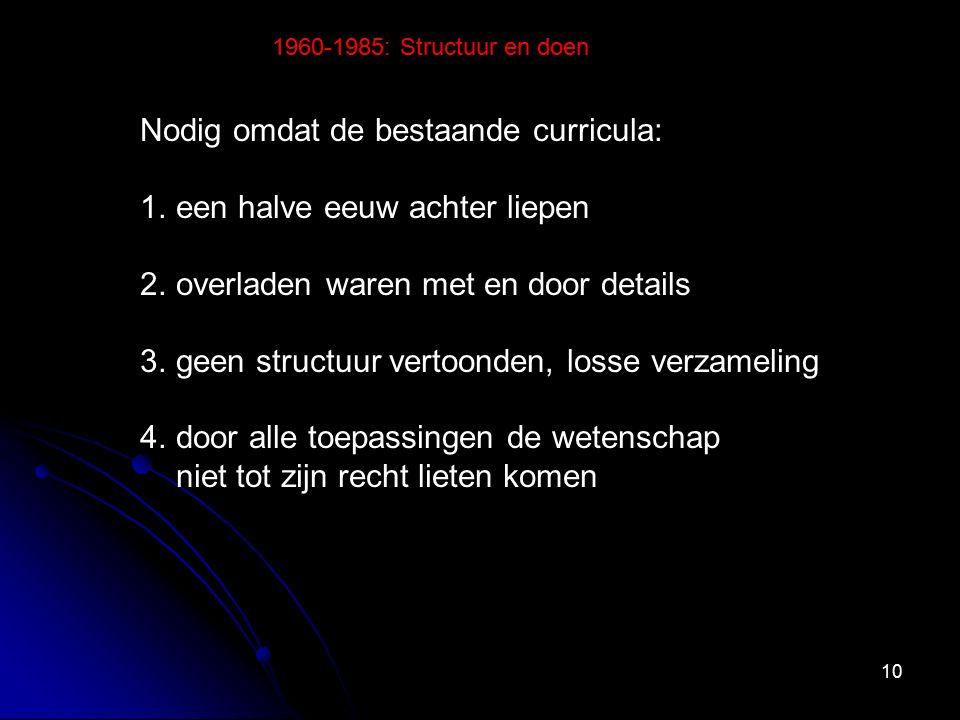 10 Nodig omdat de bestaande curricula: 1.een halve eeuw achter liepen 2.overladen waren met en door details 3.geen structuur vertoonden, losse verzameling 4.door alle toepassingen de wetenschap niet tot zijn recht lieten komen 1960-1985: Structuur en doen