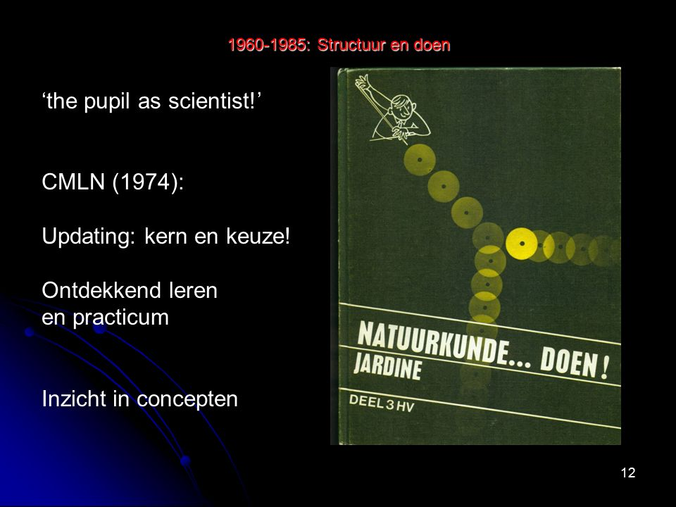 12 1960-1985: Structuur en doen 'the pupil as scientist!' CMLN (1974): Updating: kern en keuze.
