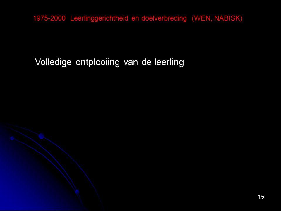 15 1975-2000 Leerlinggerichtheid en doelverbreding (WEN, NABISK) Volledige ontplooiing van de leerling