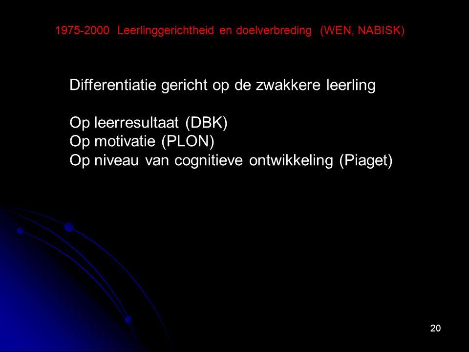 20 1975-2000 Leerlinggerichtheid en doelverbreding (WEN, NABISK) Differentiatie gericht op de zwakkere leerling Op leerresultaat (DBK) Op motivatie (PLON) Op niveau van cognitieve ontwikkeling (Piaget)