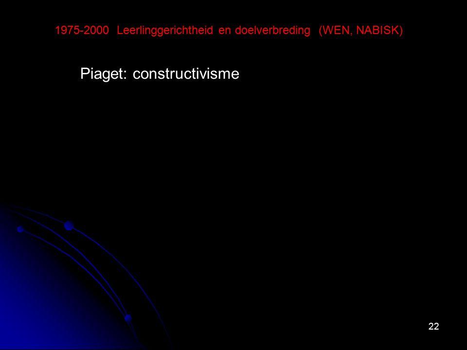 22 1975-2000 Leerlinggerichtheid en doelverbreding (WEN, NABISK) Piaget: constructivisme