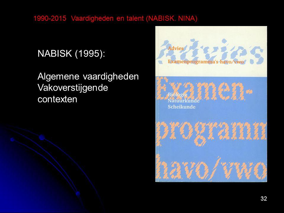 32 1990-2015 Vaardigheden en talent (NABISK. NINA) NABISK (1995): Algemene vaardigheden Vakoverstijgende contexten