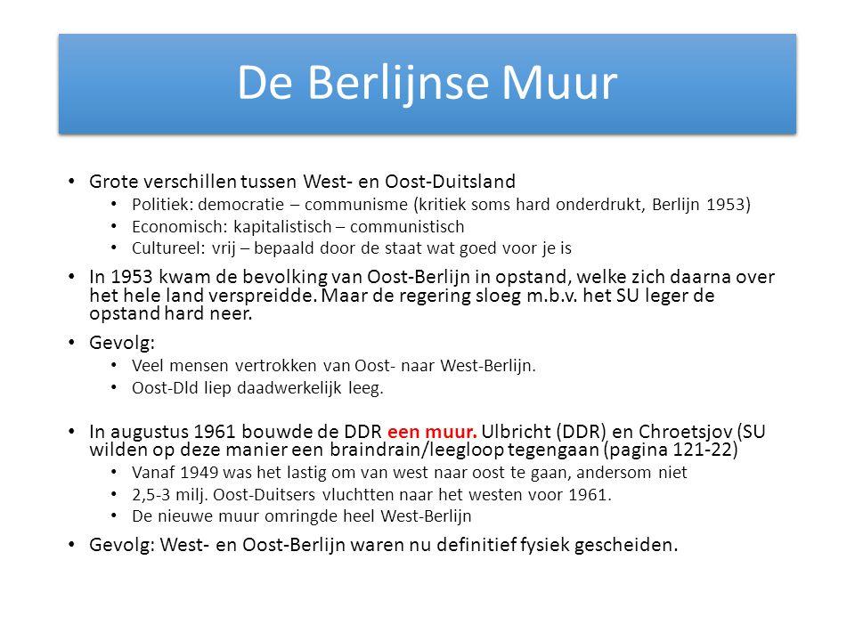 De Berlijnse Muur Grote verschillen tussen West- en Oost-Duitsland Politiek: democratie – communisme (kritiek soms hard onderdrukt, Berlijn 1953) Econ