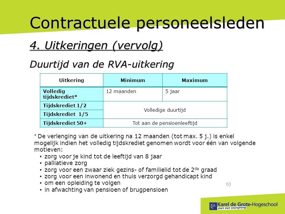 start met voorsprong 10 Contractuele personeelsleden 4.