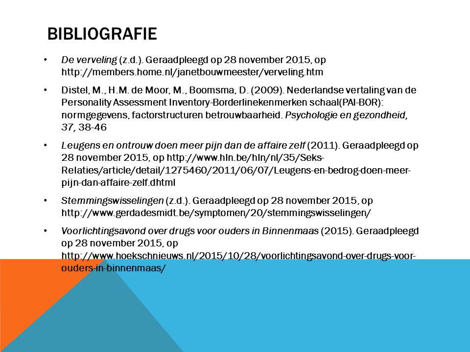 BIBLIOGRAFIE De verveling (z.d.). Geraadpleegd op 28 november 2015, op http://members.home.nl/janetbouwmeester/verveling.htm Distel, M., H.M. de Moor,