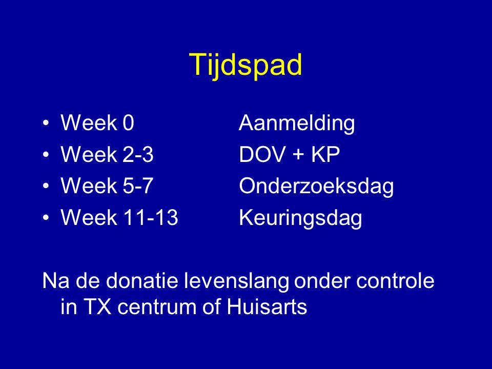 Tijdspad Week 0Aanmelding Week 2-3 DOV + KP Week 5-7Onderzoeksdag Week 11-13Keuringsdag Na de donatie levenslang onder controle in TX centrum of Huisa