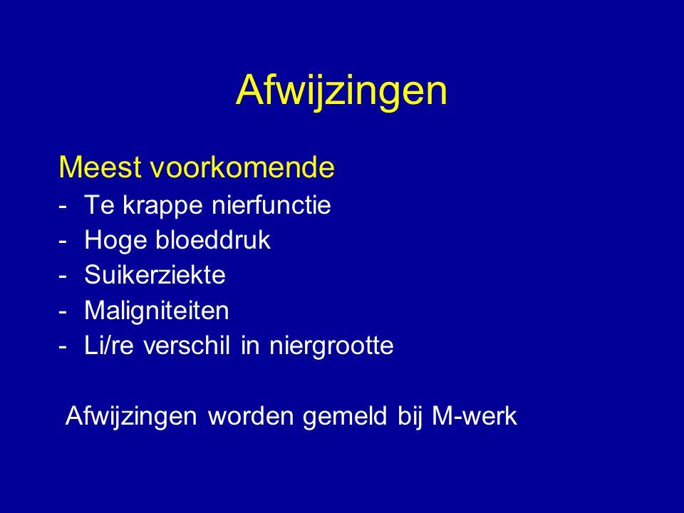 Afwijzingen Meest voorkomende -Te krappe nierfunctie -Hoge bloeddruk -Suikerziekte -Maligniteiten -Li/re verschil in niergrootte Afwijzingen worden ge