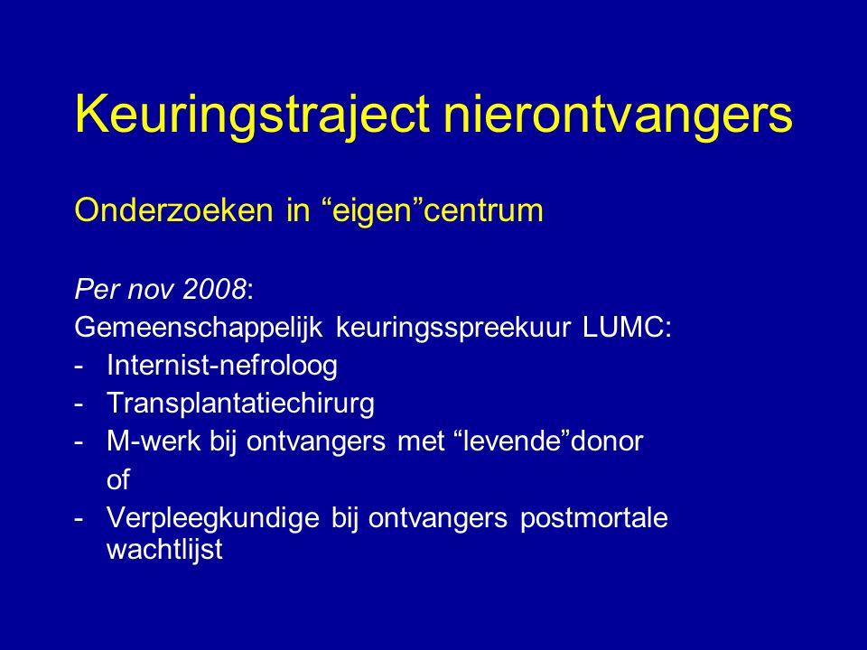 """Keuringstraject nierontvangers Onderzoeken in """"eigen""""centrum Per nov 2008: Gemeenschappelijk keuringsspreekuur LUMC: -Internist-nefroloog -Transplanta"""