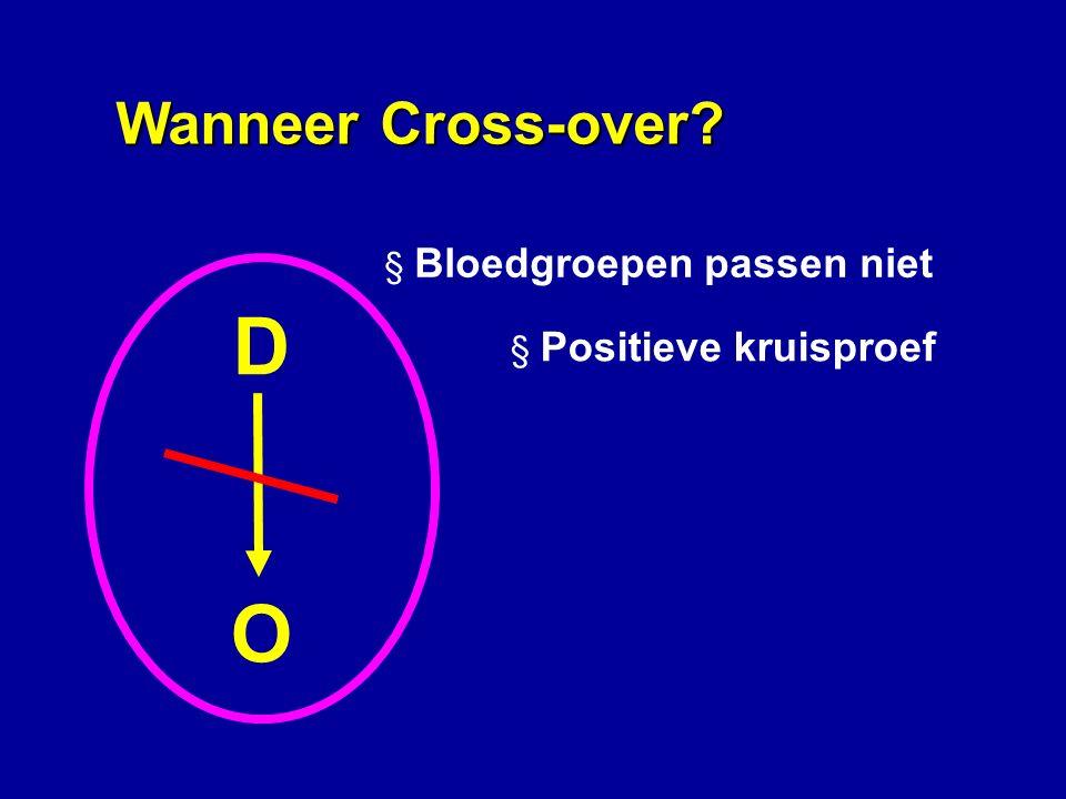 DODO § Bloedgroepen passen niet § Positieve kruisproef Wanneer Cross-over?