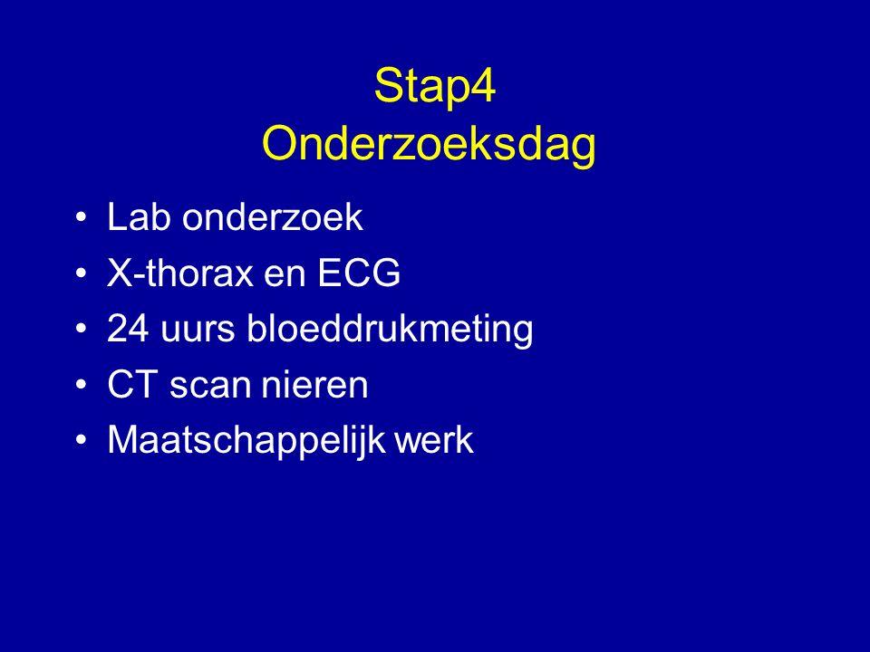 Stap4 Onderzoeksdag Lab onderzoek X-thorax en ECG 24 uurs bloeddrukmeting CT scan nieren Maatschappelijk werk