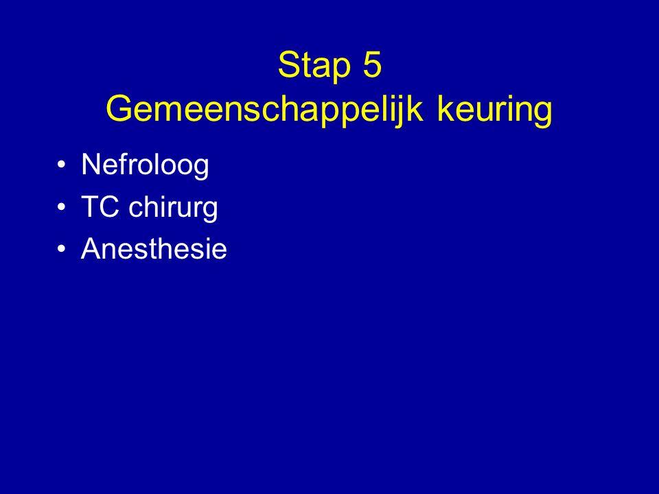 Stap 5 Gemeenschappelijk keuring Nefroloog TC chirurg Anesthesie