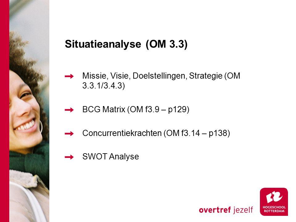 Situatieanalyse (OM 3.3) Missie, Visie, Doelstellingen, Strategie (OM 3.3.1/3.4.3) BCG Matrix (OM f3.9 – p129) Concurrentiekrachten (OM f3.14 – p138) SWOT Analyse