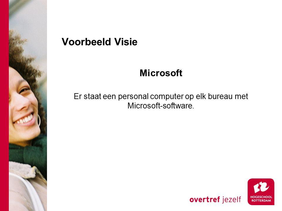 Voorbeeld Visie Microsoft Er staat een personal computer op elk bureau met Microsoft-software.