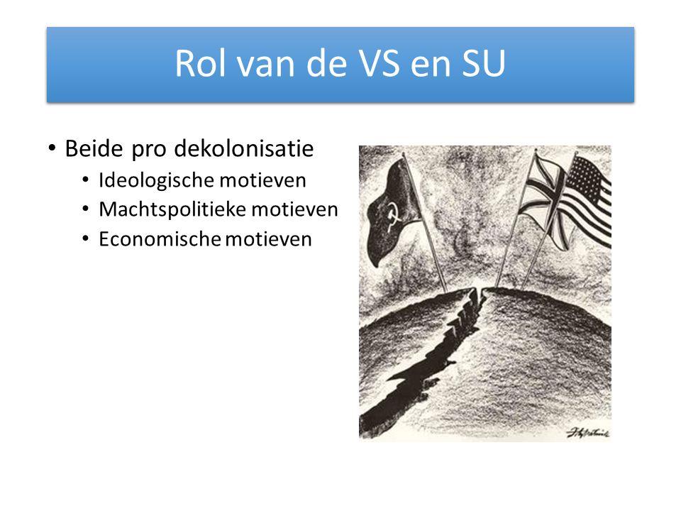 Rol van de VS en SU Beide pro dekolonisatie Ideologische motieven Machtspolitieke motieven Economische motieven