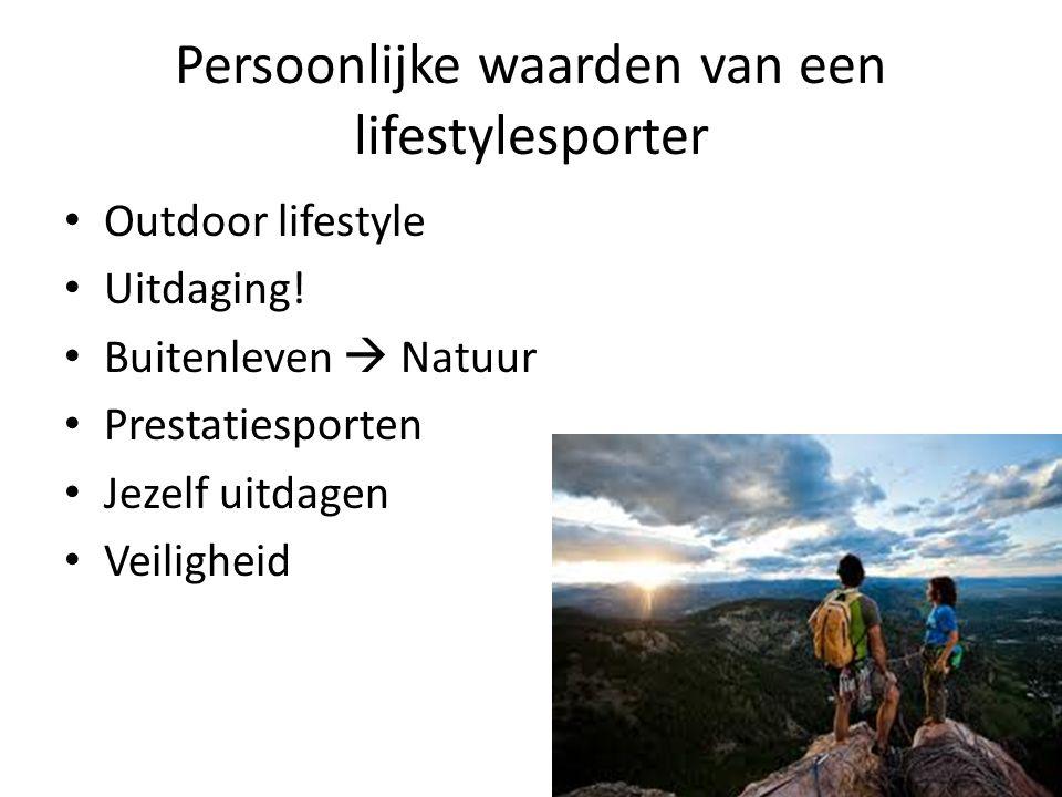 Persoonlijke waarden van een lifestylesporter Outdoor lifestyle Uitdaging! Buitenleven  Natuur Prestatiesporten Jezelf uitdagen Veiligheid