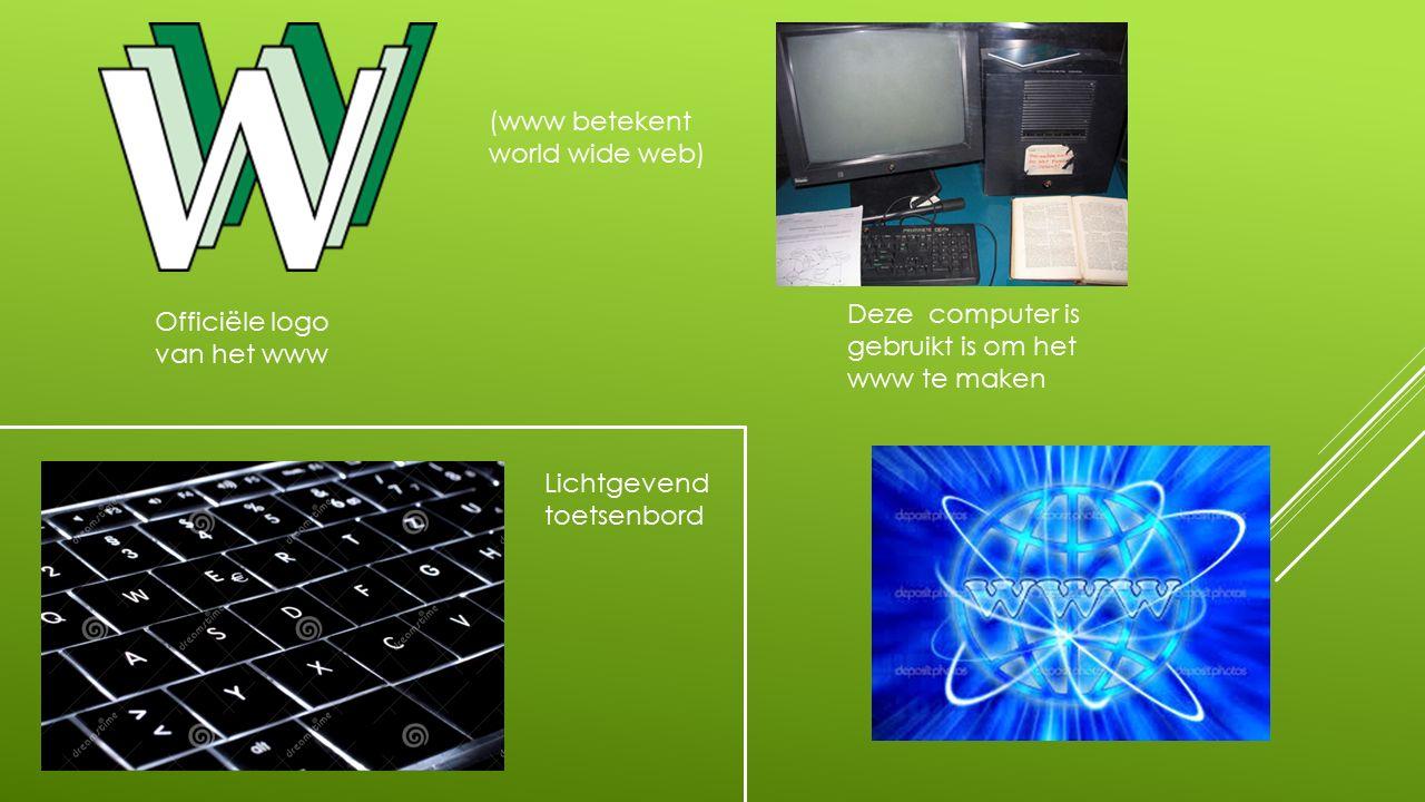 Officiële logo van het www (www betekent world wide web) Deze computer is gebruikt is om het www te maken Lichtgevend toetsenbord