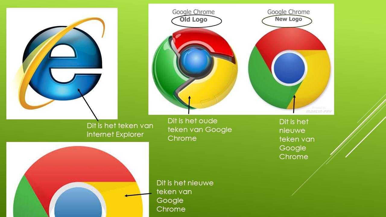 Dit is het nieuwe teken van Google Chrome Dit is het oude teken van Google Chrome Dit is het teken van internet Explorer Dit is het nieuwe teken van Google Chrome