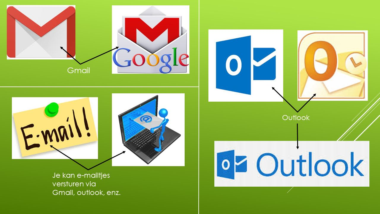Je kan e-mailtjes versturen via Gmail, outlook, enz. Outlook Gmail