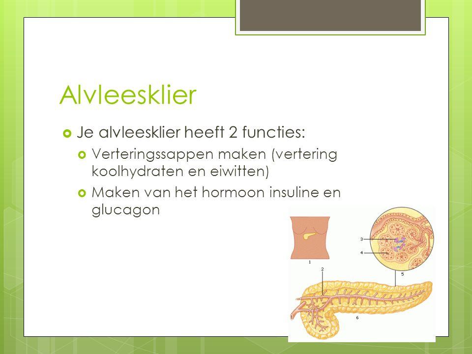 Alvleesklier  Je alvleesklier heeft 2 functies:  Verteringssappen maken (vertering koolhydraten en eiwitten)  Maken van het hormoon insuline en glu