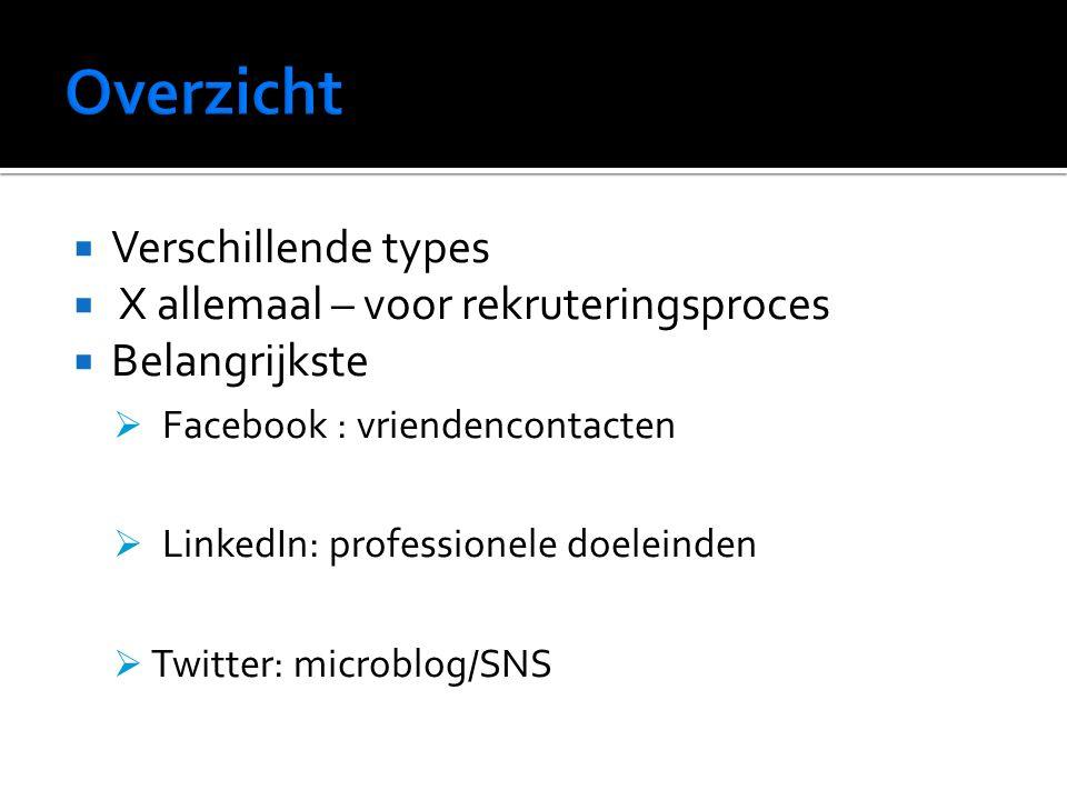  Verschillende types  X allemaal – voor rekruteringsproces  Belangrijkste  Facebook : vriendencontacten  LinkedIn: professionele doeleinden  Twitter: microblog/SNS