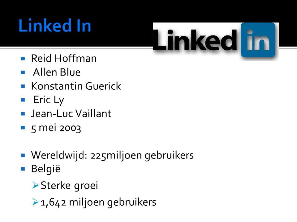 Reid Hoffman  Allen Blue  Konstantin Guerick  Eric Ly  Jean-Luc Vaillant  5 mei 2003  Wereldwijd: 225miljoen gebruikers  België  Sterke groei  1,642 miljoen gebruikers