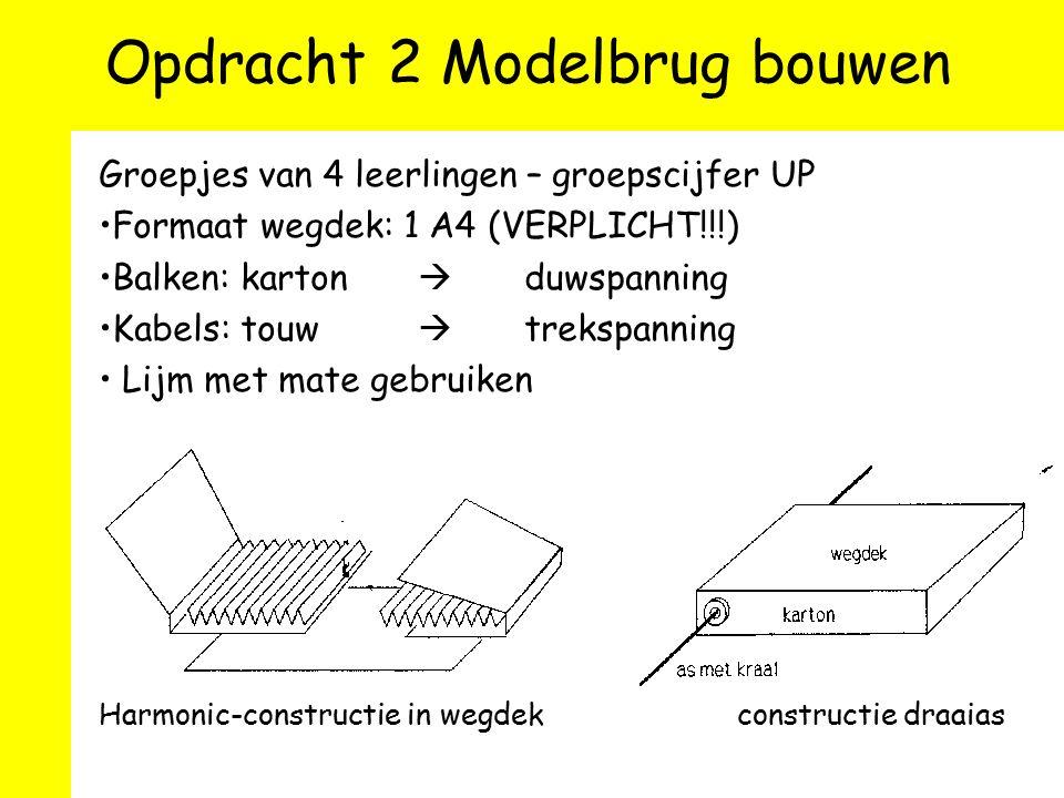 Opdracht 2 Modelbrug bouwen Groepjes van 4 leerlingen – groepscijfer UP Formaat wegdek: 1 A4 (VERPLICHT!!!) Balken: karton  duwspanning Kabels: touw