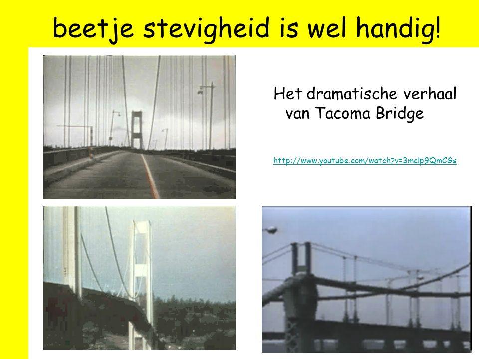 beetje stevigheid is wel handig! Het dramatische verhaal van Tacoma Bridge http://www.youtube.com/watch?v=3mclp9QmCGs