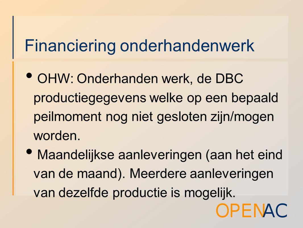 Financiering onderhandenwerk OHW: Onderhanden werk, de DBC productiegegevens welke op een bepaald peilmoment nog niet gesloten zijn/mogen worden.
