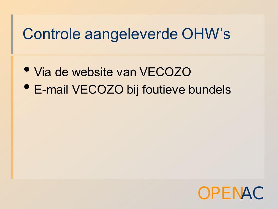 Controle aangeleverde OHW's Via de website van VECOZO E-mail VECOZO bij foutieve bundels