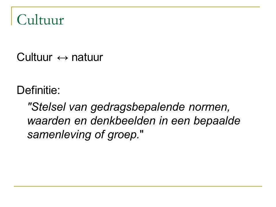 Cultuur Cultuur ↔ natuur Definitie: