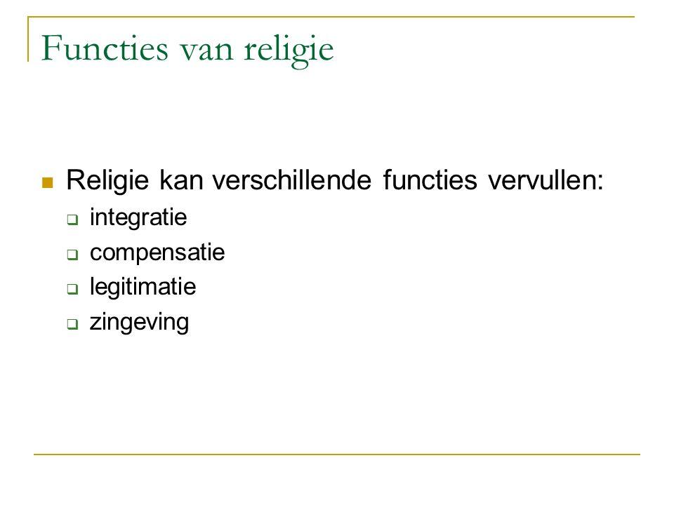 Functies van religie Religie kan verschillende functies vervullen:  integratie  compensatie  legitimatie  zingeving