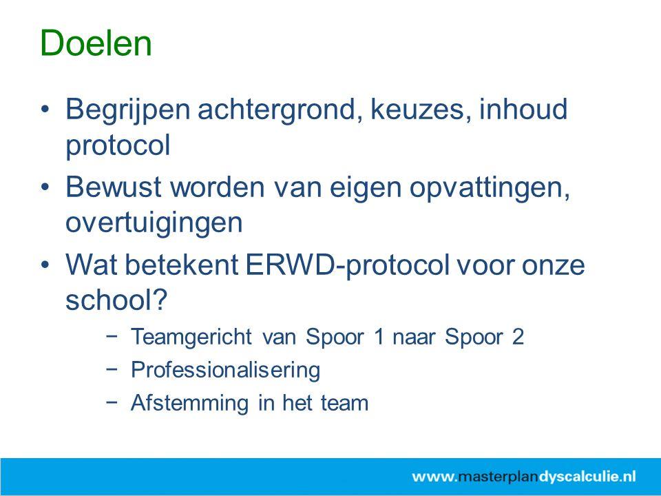 Begrijpen achtergrond, keuzes, inhoud protocol Bewust worden van eigen opvattingen, overtuigingen Wat betekent ERWD-protocol voor onze school? −Teamge