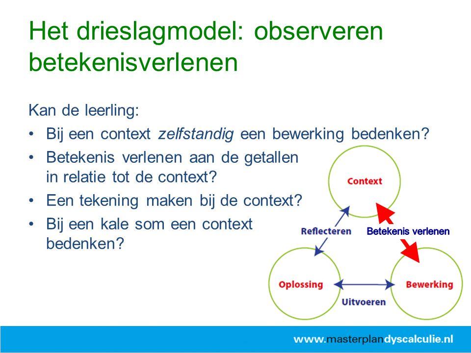 Het drieslagmodel: observeren betekenisverlenen Kan de leerling: Bij een context zelfstandig een bewerking bedenken? Betekenis verlenen aan de getalle