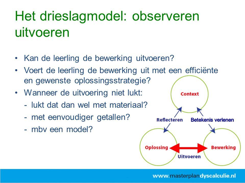 Het drieslagmodel: observeren uitvoeren Kan de leerling de bewerking uitvoeren? Voert de leerling de bewerking uit met een efficiënte en gewenste oplo