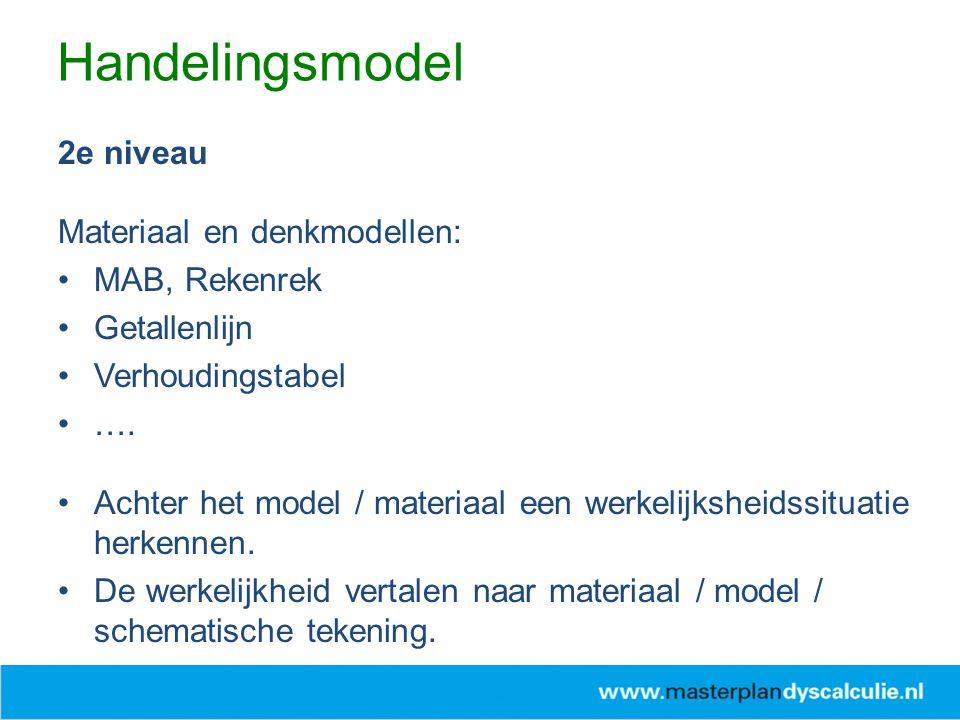 2e niveau Materiaal en denkmodellen: MAB, Rekenrek Getallenlijn Verhoudingstabel …. Achter het model / materiaal een werkelijksheidssituatie herkennen