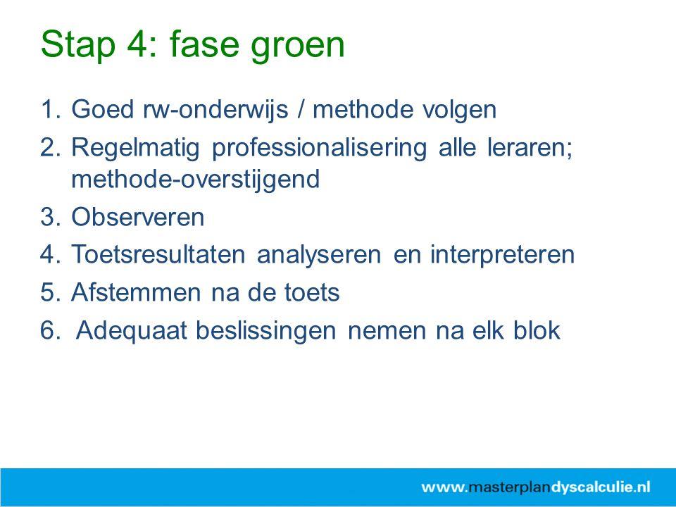 1.Goed rw-onderwijs / methode volgen 2.Regelmatig professionalisering alle leraren; methode-overstijgend 3.Observeren 4.Toetsresultaten analyseren en