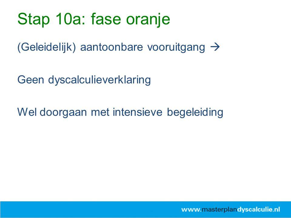 (Geleidelijk) aantoonbare vooruitgang  Geen dyscalculieverklaring Wel doorgaan met intensieve begeleiding Stap 10a: fase oranje